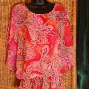 Glance women's paisley cold shoulder blouse Large